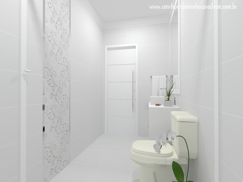 Construindo Minha Casa Clean Projeto do Banheiro Social! -> Banheiro Decorado Com Revestimento Eliane