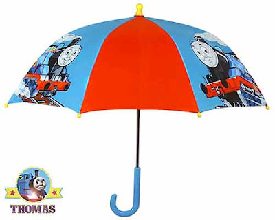Thomas the Tank Engine umbrella and storm boots wet gear preschoolers looking trendy and fashionable