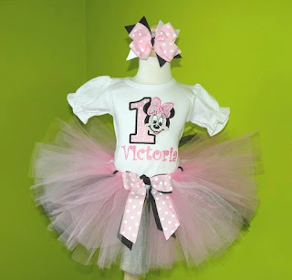 Minnie Mouse Face Birthday Tutu Set