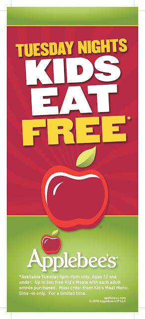 Kids Eat Free at Applebee's on Tuesdays