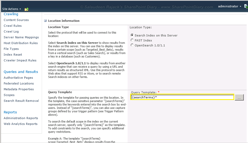 sharepoint 2010 wildcard search default