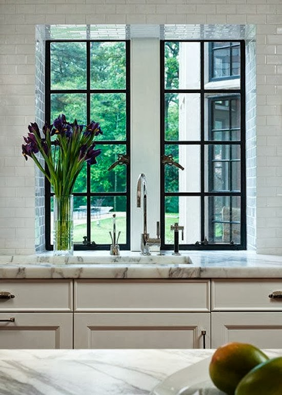 The zhush seven inspiring white kitchens for Window design metal