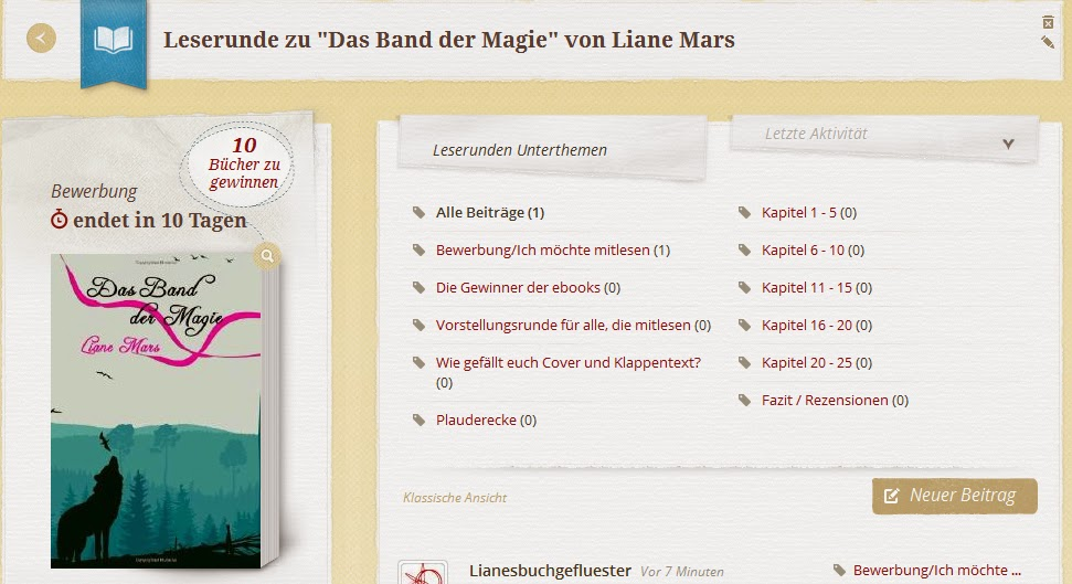 http://www.lovelybooks.de/autor/Liane-Mars/Das-Band-der-Magie-1083304421-w/leserunde/1086034598/