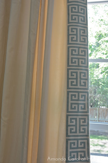 Greek Key trimmed Drapery, Greek Key fabric, Greek Key drapes