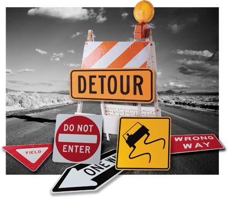 Picture of road a detour sign, one way sign, wrong way sign