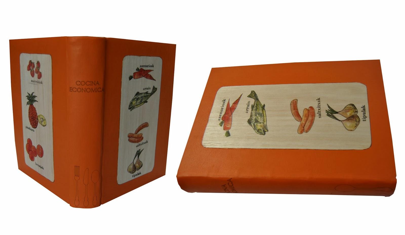Encuadernacion en piel y tapas decoradas en madera con imagenes transferidas