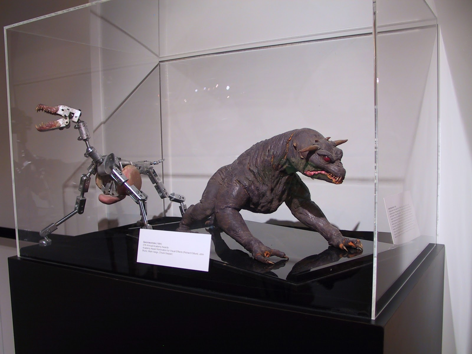 One of the terror dog models with a wire skeleton used in ghost