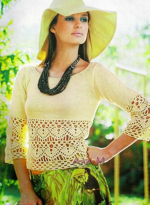 Remera tejida con dos agujas y crochet - explicación en español