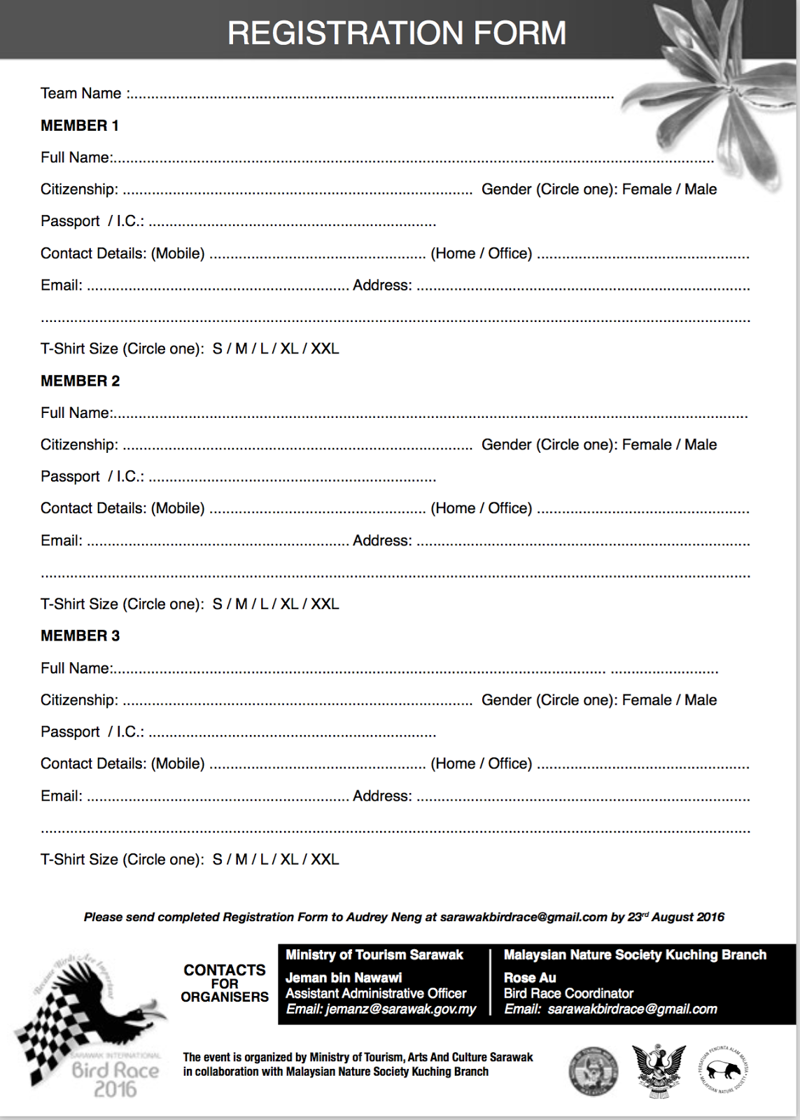 Downloadform for  Sarawak International Bird Race 2016