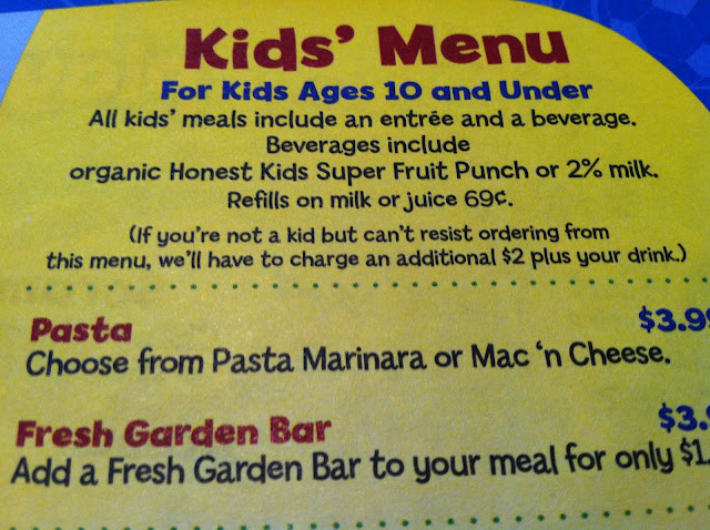 menus kids young adults menu