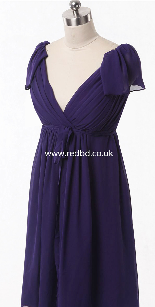 V Neck Short Maternity Bridesmaid Dress With Cap Sleeves