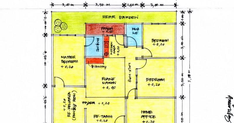 Denah Rumah 9x12 3 Kamar