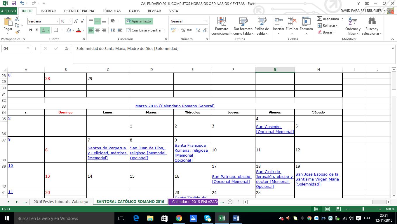 El meu arbre anomenat Carrasclest!: Calendario Excel de 2016, y ...