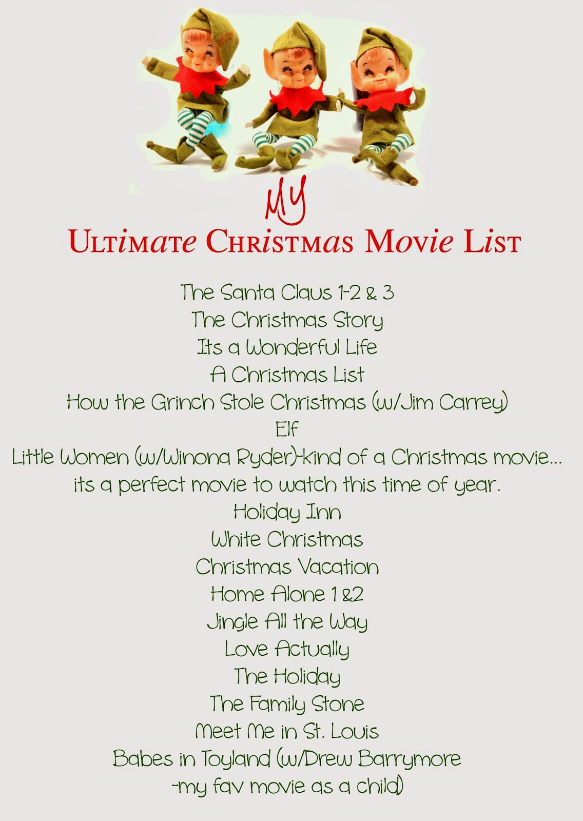 sequins and scissors my ultimate christmas movie list - Christmas Lists 2014