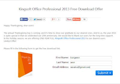 Giveaway Kingsoft Office Professional 2013 untuk satu tahun