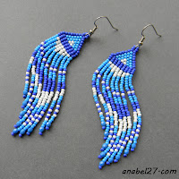 blue seed bead earrings