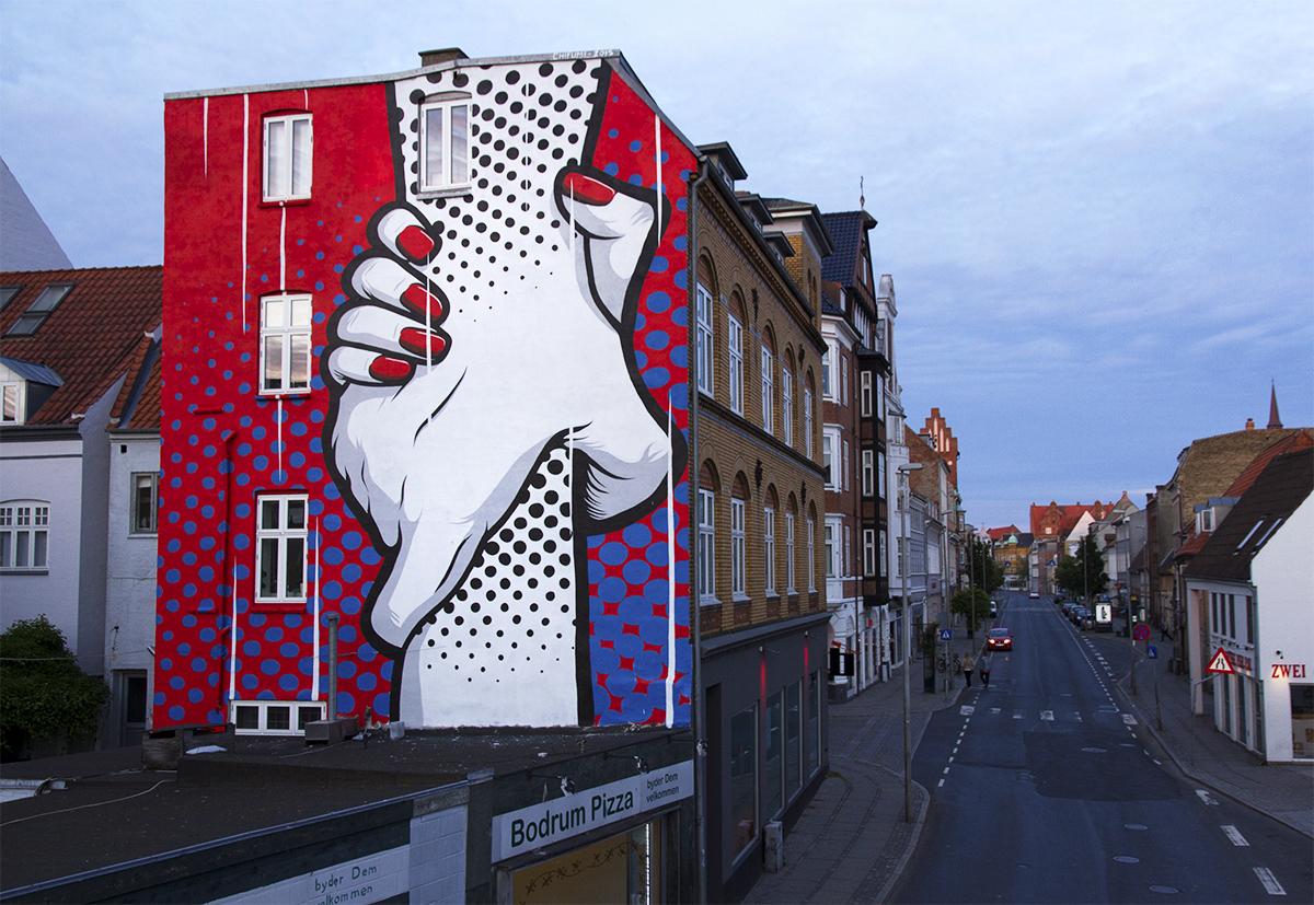 Chifumi creates a new mural in horsen denmark for Construction mural