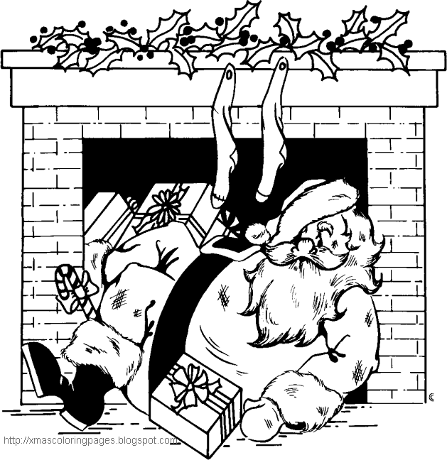 when santa got stuck up the chimney coloring and lyrics