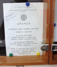 Afişul oficial al şedinţei CNHGS din data de 13.IX.2011, avizierul Facultăţii de Istorie...