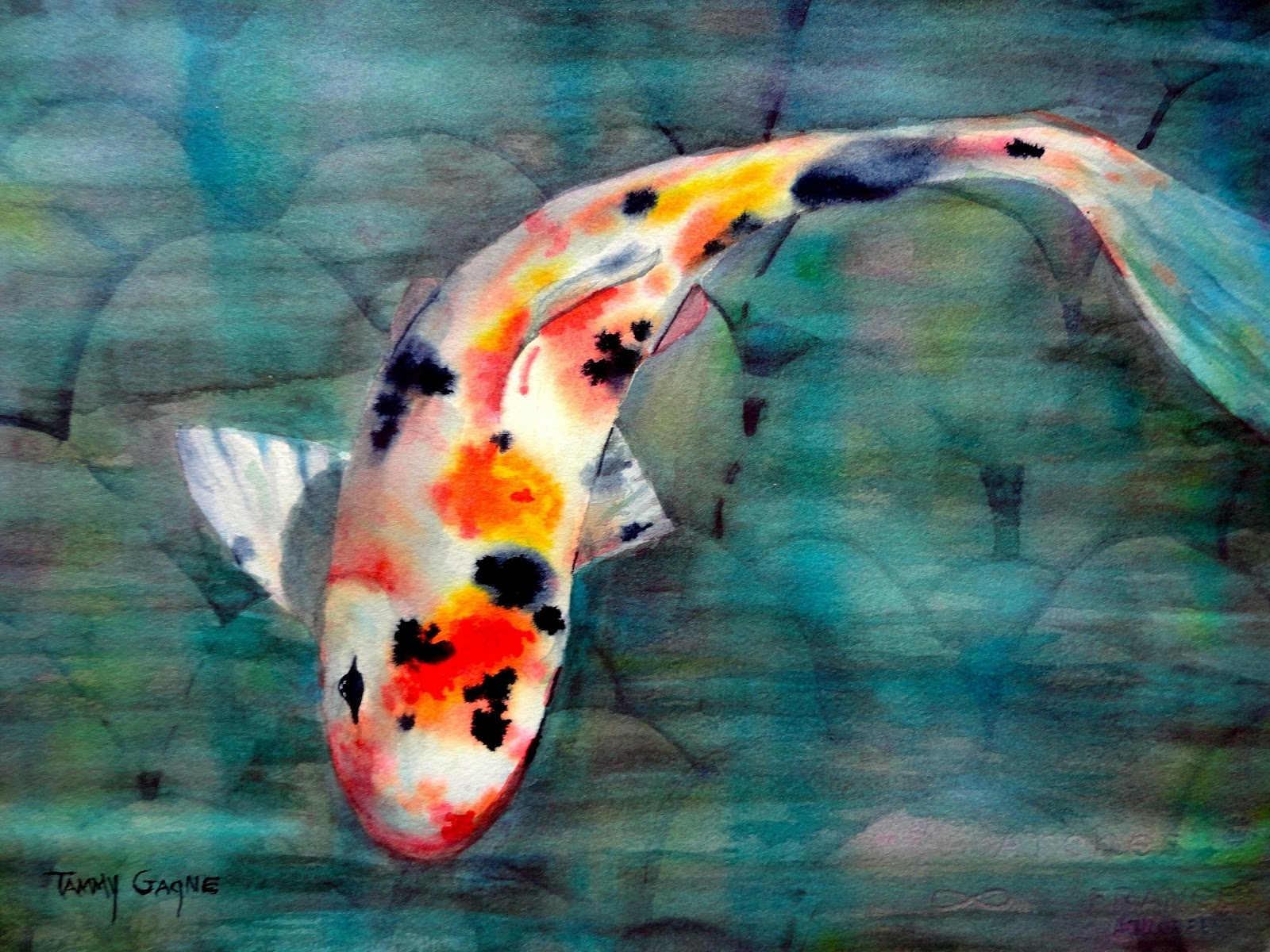 watercolor artist tammy gagne ForRainbow Koi Fish