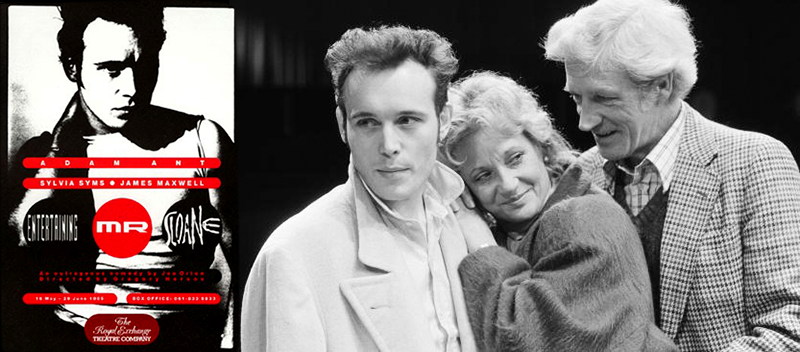 Adam Ant, Sylvia Simms and James Maxwell performed on the play Entertaining Mr. Sloane in 1985's single cover: Strip, 1985.