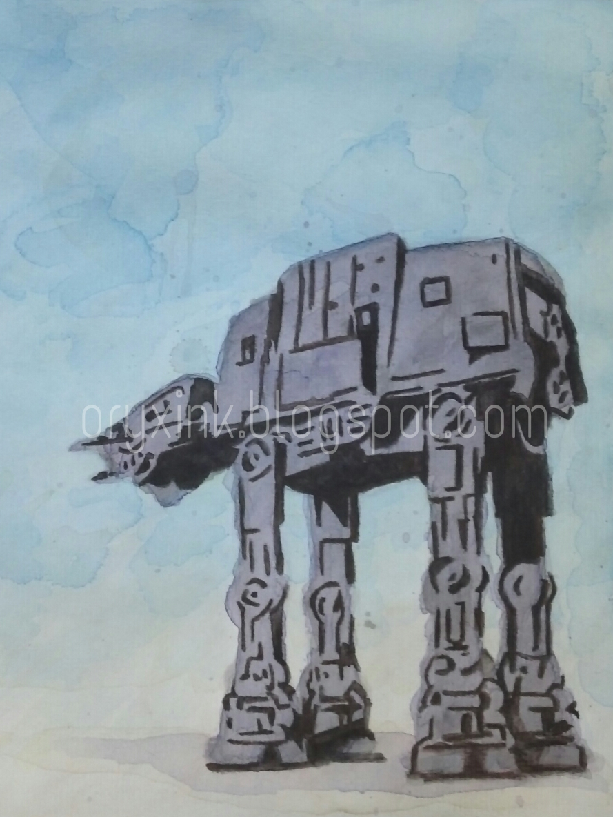 Watercolor Painting of AT-AT from Star Wars