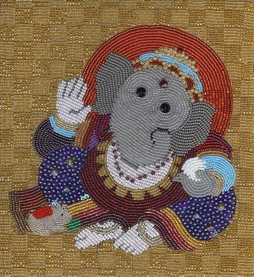 Liz Thompson, bead embroidery, ganesha