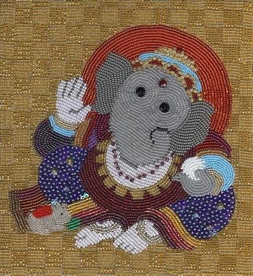 Liz Thompson, bead embroidery, ganesha