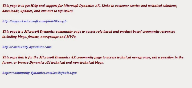 Microsoft Dynamics AX links