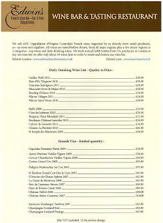Example wine list for Edwin's French Restaurant & Wine Bar
