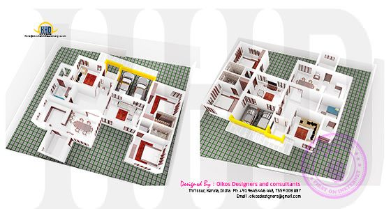 Ground floor isometric 3d plan