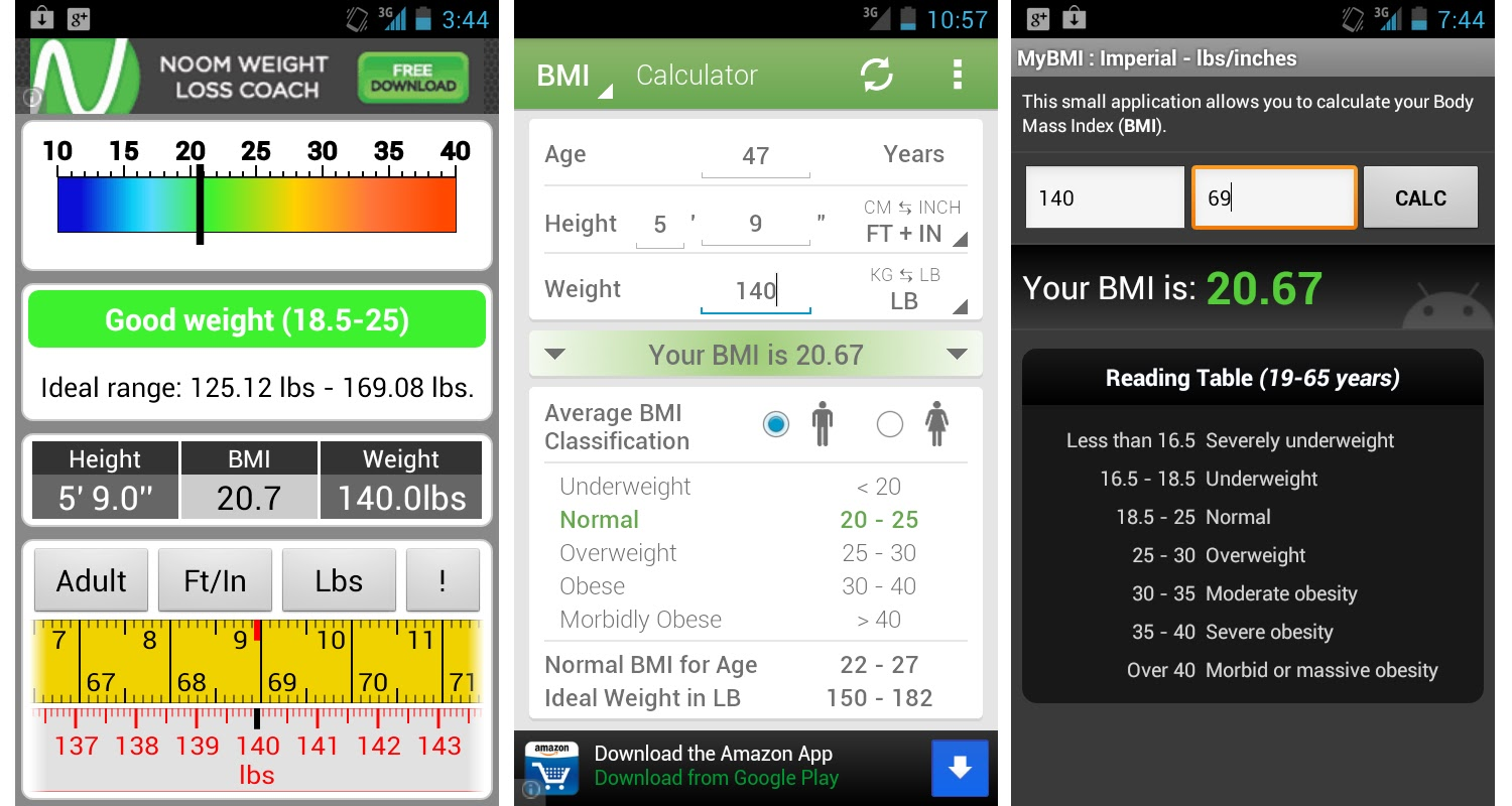 A review of three bmi apps on android quantified health screenshots of the ideal weight left smayer bmi calculator middle and woytek bmi calculator right all contain the same basic functionality but geenschuldenfo Choice Image