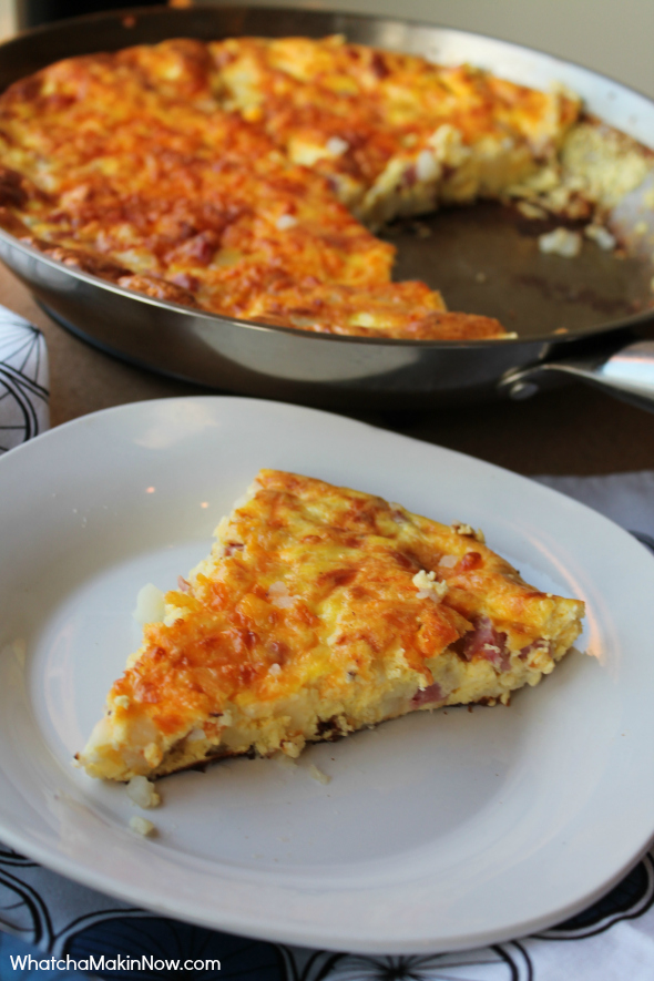 Ham, Cheese, and Potato Frittata - Quick meal! Toss in any leftover meat, veggies, and cheese and you'll have a winner!