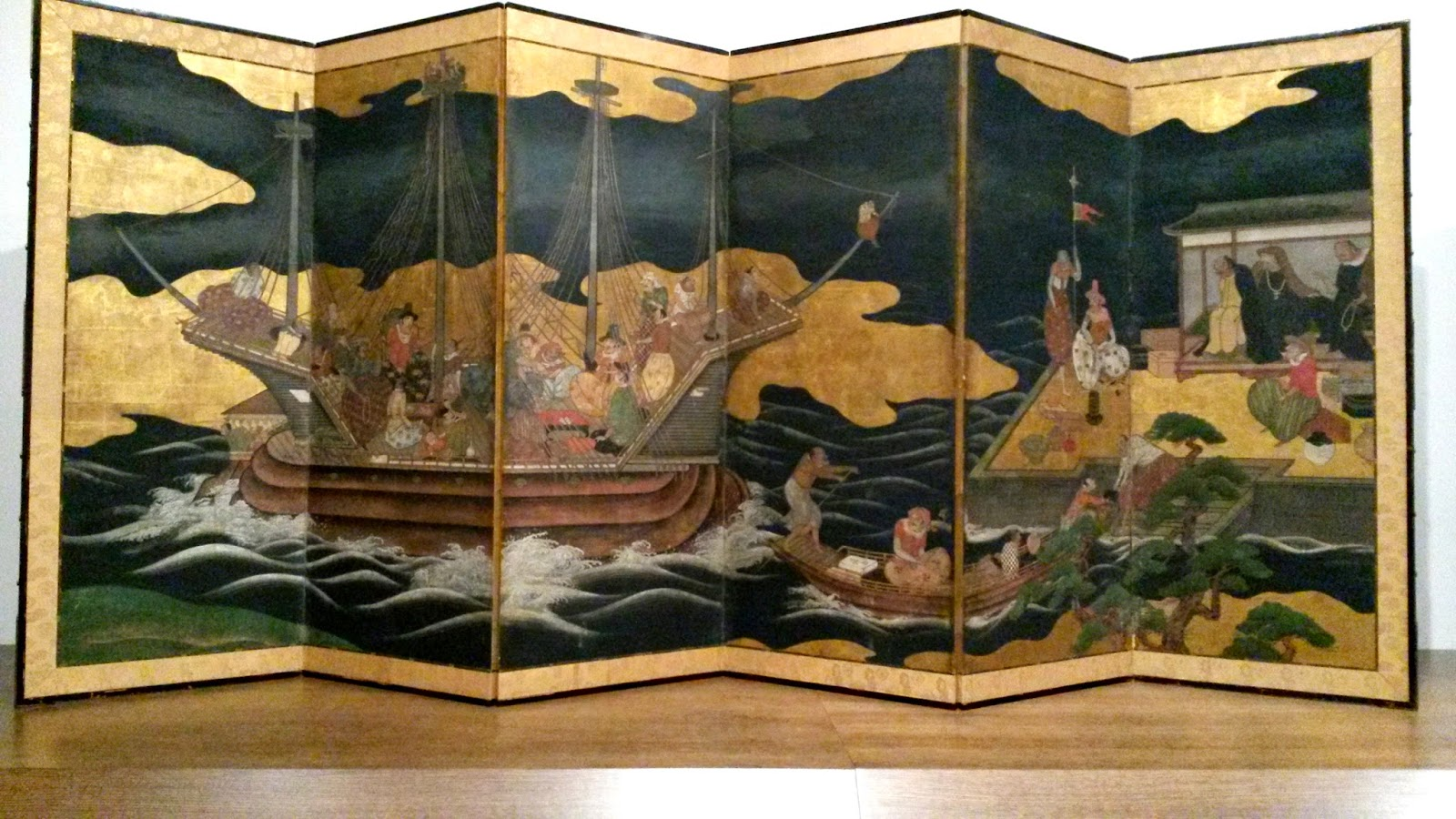 Japanese Edo screen showing Portuguese trading ship