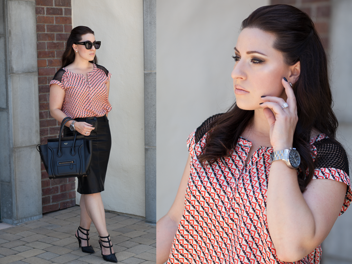 le tote geometric top, blank nyc leather pencil skirt, nars turkish delight, celine tote, timex watch, karen walker northern light, opi black onyx