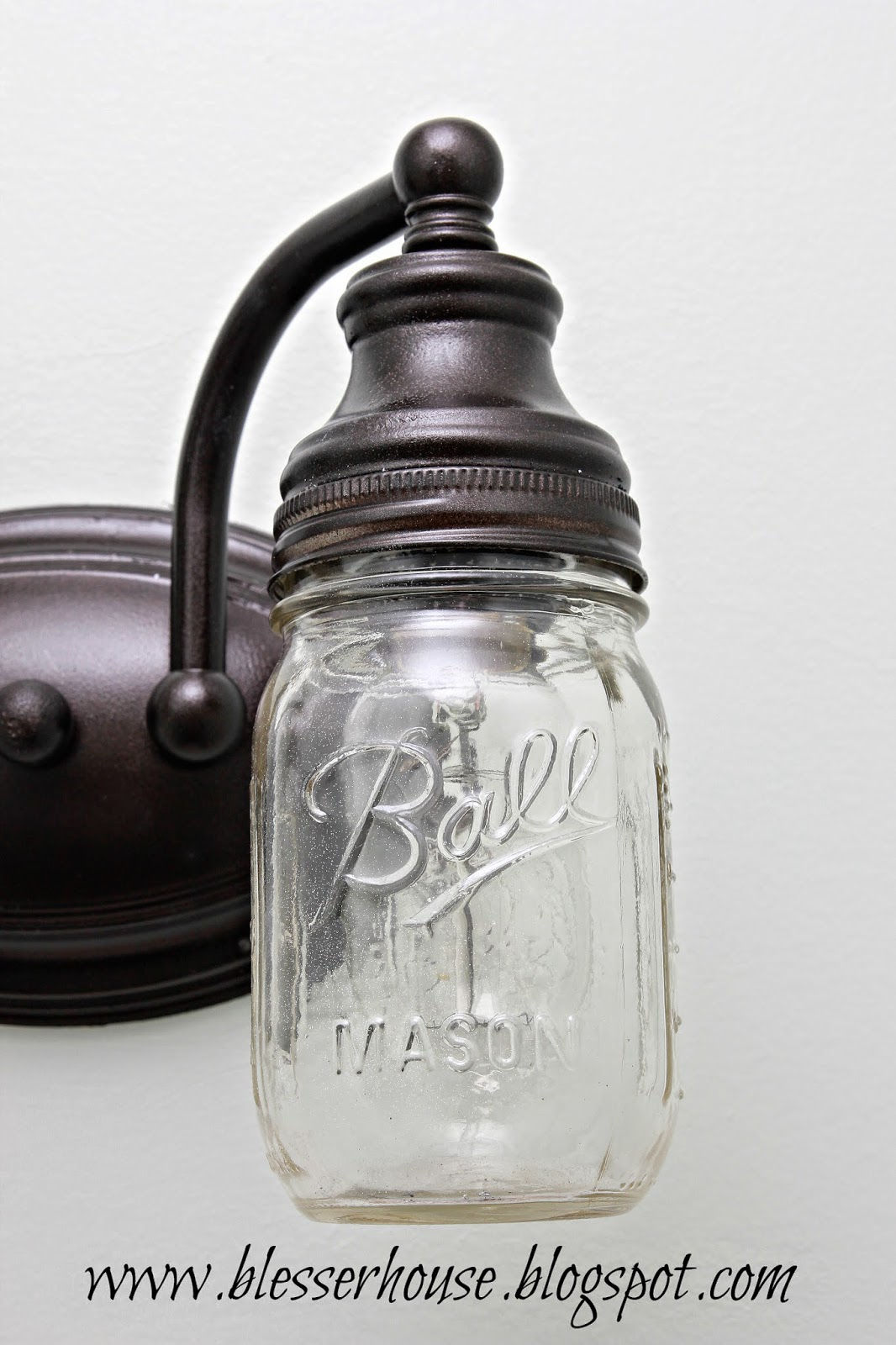 Vanity Lights Mason Jars : DIY Mason Jar Vanity Light - Bless er House