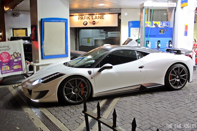 Carspotting London: white Mansory Siracusa Ferrari 458 (from Qatar)