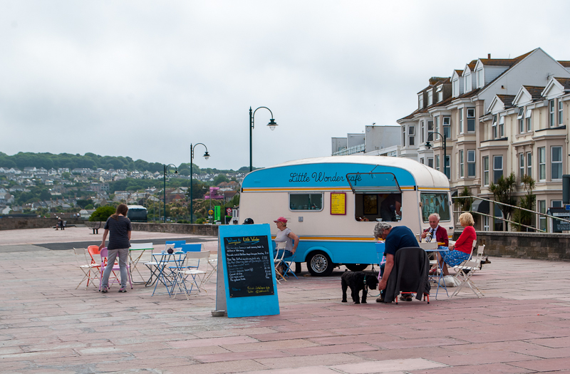 Seaside pop up van cafe in cornwall, england