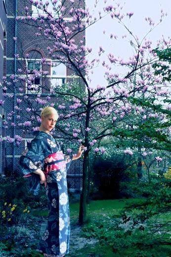 blue flower kimono