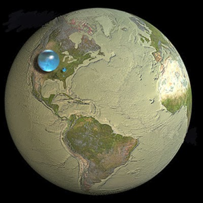 Earth water as a bubble 860 mi. in diameter