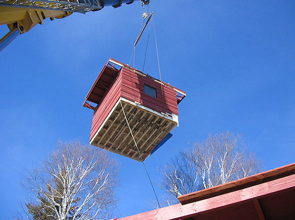 crane lift section of wee house