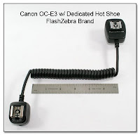 Canon OC-E3 with Dedicated Hot Shoe on Camera End - FlashZebra Brand (6 inch coiled section)