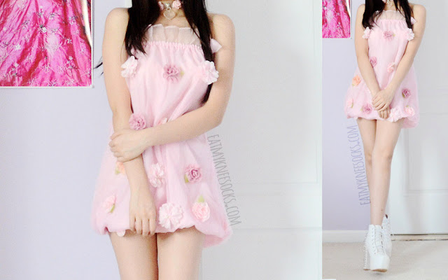 Full outfit photos of this gyaru-inspired OOTD, with Romwe's pastel pink ruffled floral applique organza dress, a clear babydoll choker from Milkstud, and white spiked booties.