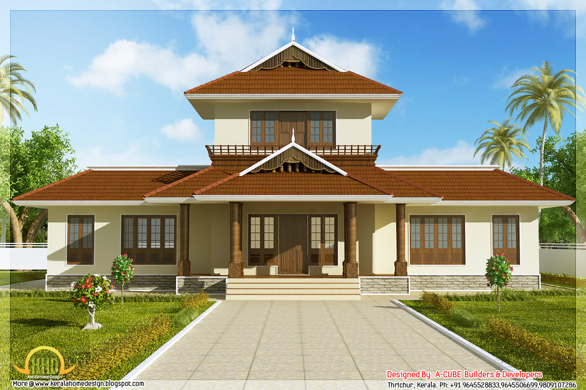 Front elevation of 1947 square feet 3 bedroom Kerala style home - May
