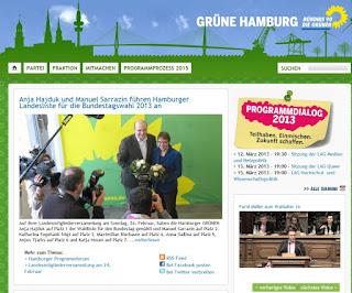 Screenshot der Webseite von Bündnis 90/ Die Grünen Hamburg