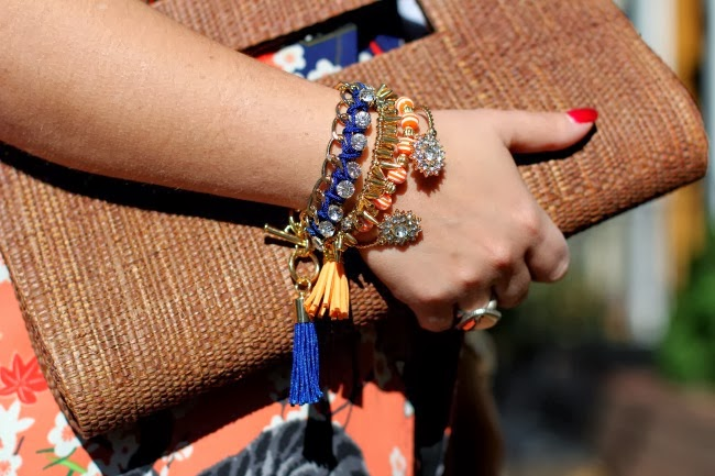 Bracelets a mix of my own, TJ Maxx and Charming Charlie, Natural fiber clutch from Brazil.
