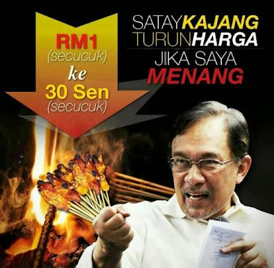 Anwar Ibrahim meme harga satay turun