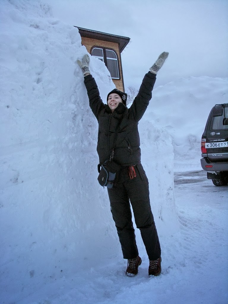 She seems happy, but she is actually overwhelmed with snow-depression.