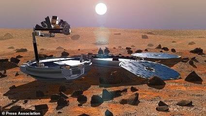 """Εικόνες από την Ευρωπαϊκή Υπηρεσία Διαστήματος που δόθηκαν στην δημοσιότητα το 2002, πως θα φαινόταν το«Beagle 2"""" όταν θα προσεδαφιζόταν στον Άρη."""
