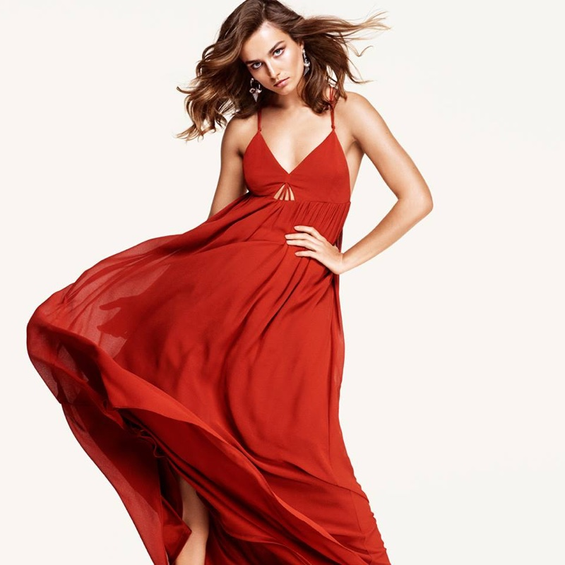 Andreea Diaconu wears bohemian fashion from H&M